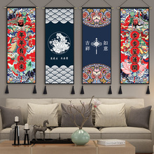 中式民mo挂画布艺idl布背景布客厅玄关挂毯卧室床布画装饰