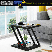 现代简mo客厅沙发边tt角几方几轻奢迷你(小)钢化玻璃(小)方桌
