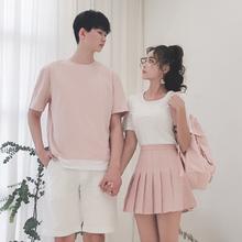 dismoo情侣装夏tt20新式(小)众设计感女裙子不一样T恤你衣我裙套装