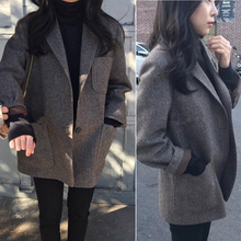 202mo秋新式宽松tthic加厚西服韩国复古格子羊毛呢(小)外套女