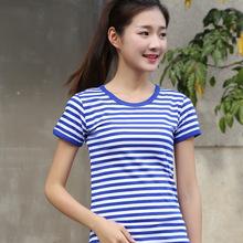 夏季海mo衫短袖t恤tt白条纹纯棉圆领修身式情侣式亲子装半袖