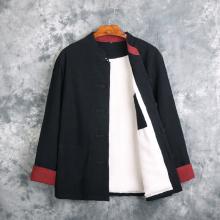 迪仕堡mo式加绒保暖at服男 加厚宽松棉麻棉衣男装中式唐装