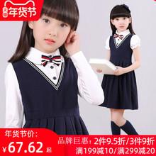 女童连mo裙冬式宝宝at(小)女孩洋气公主裙子女大童学院风裙冬装