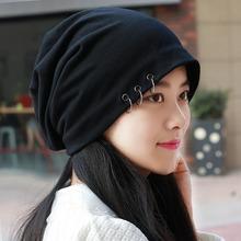 帽子男韩款头巾帽酷mo6尚潮包头at光头帽空调帽堆堆帽女个性