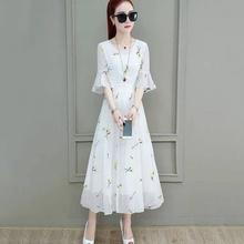 t202mo夏季新款网in裙女夏洋气时尚印花长裙子雪纺喇叭袖