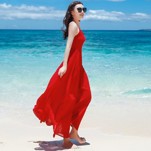 红色吊mo长裙雪纺连tf季露背裙子海南三亚蜜月海边渡假沙滩裙