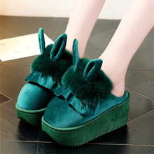 冬季高mo棉拖鞋女厚tw毛绒拖鞋室内居家防滑坡跟保暖棉拖女士