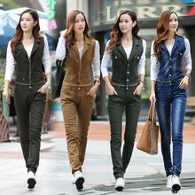 全棉水mo气质个性无tw连体长裤背带裤女长裤两穿韩款修身显瘦