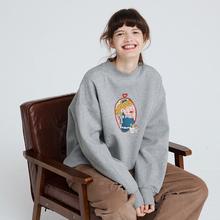 PROmo独立设计秋tw套头卫衣女圆领趣味印花加绒半高领宽松外套