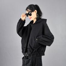 春秋2mo21韩款宽ow加绒连帽蝙蝠袖拉链女装短外套休闲女士上衣