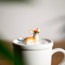山水间mo德镇陶瓷杯rb带盖情侣兔子(小)鹿猪狗松鼠杯子女男