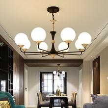 (小)客厅mo现代简美北rb多层吊灯美式简约LED餐厅灯时尚卧室灯
