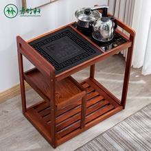 中款移动茶mo简约泡茶桌th水架乌金石实木茶几泡功夫茶(小)茶台