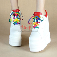 2020春mo新款14Cth跟厚底松糕鞋(小)白鞋内增高女鞋裸靴