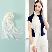 丝巾女mo搭春秋冬季ie长条白色长式窄桑蚕丝纯色纱巾