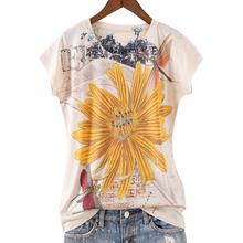 欧货2mo21夏季新im民族风彩绘印花黄色菊花 修身圆领女短袖T恤潮