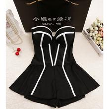 黑白性感mp1体裙式平lu钢托(小)胸聚拢遮肚显瘦温泉保守游泳衣