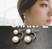 韩国925纯银气质甜mp7珍珠耳钉es防过敏两用大(小)珠耳饰新式潮