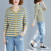胖女的mp底衫女20sp式秋季条纹V领针织衫修身百搭长袖上衣t恤潮