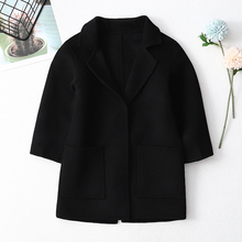 宝宝羊mp大衣双面呢xw洋气童装秋冬中长式西装洋气羊毛呢外套