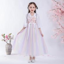汉服女童古装中国风2021mq10款春秋sp古风襦裙超仙女孩唐装