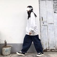 Takmr off咖ap冬新式宽松百搭工装裤阔腿牛仔裤男女日系