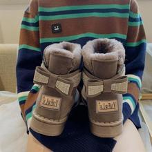 水钻雪mr靴女式中筒ec厚保暖魔术贴棉鞋女学生韩款短筒靴子冬