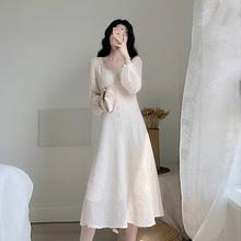 卡所2ms20春秋季hj子显瘦气质法式复古温柔风仙女(小)香风连衣裙