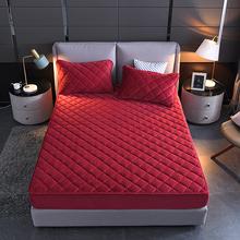 水晶绒夹棉床笠ms件冬季加厚st床罩防滑席梦思床垫保护套定制