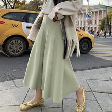 EKOOLmt2腰针织半oo冬中长式毛线裙大摆A字伞裙显瘦半身长裙