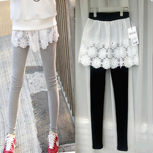 秋冬女mt大码打底裤jh臀镂空蕾丝裙裤厚假两件加长长裤加绒