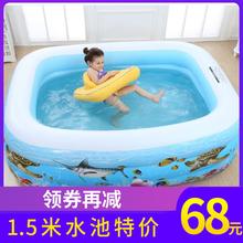夏季婴mt宝宝家用游pw孩(小)游泳池(小)型折叠充气加厚宝宝戏水池