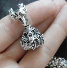 泰银 9mt15纯银 v9工银 正品 辟邪石榴石好运吊坠2.7cm