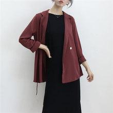 垂感西mu上衣女20ho春秋季新式慵懒风(小)个子西装外套韩款酒红色