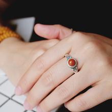 晴朗南mu南方纯银饰ho玛瑙女式泰银手工复古风民族开口戒指环