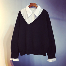 假两件mu织衫202le新式韩款短式宽松套头打底毛衣外套上衣女装