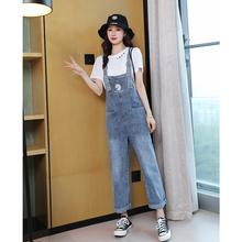 (小)个子mu仔背带裤2in年新式邹菊女士韩款宽松套装洋气减龄时尚潮