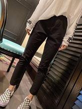 202mu夏季韩国新in速干纸皮裤女松紧高腰黑色(小)直筒九分纸袋裤