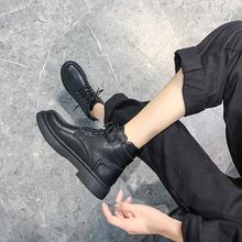 马丁靴mu伦风女鞋ich2020年秋冬季新式棉鞋加绒百搭骑士短靴子
