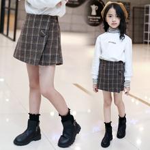 7女大mu春秋毛呢短ch宝宝10时髦格子裙裤11(小)学生12女孩13岁潮