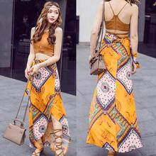 波西米mu长裙沙滩裙ng0新式旅游海边泰国度假风连衣裙夏两件套装