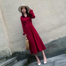 红色雪mu连衣裙春秋ng0新式气质V领长裙长袖仙女裙收腰显瘦裙子