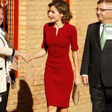 欧美2mu21夏季明io王妃同式职业女装红色修身时尚收腰连衣裙女