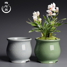创意桌mu绿植盆景盆io专用陶瓷哥窑开片家用吊兰兰花