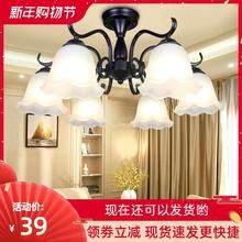吊灯简mu温馨卧室灯ra欧大气客厅灯铁艺餐厅灯具新式美式吸顶