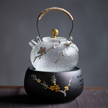[murra]日式锤纹耐热玻璃提梁壶电