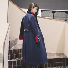 冬季宫mu英伦风中长ic外套修身帅气蓝色军装呢子大衣女装双12
