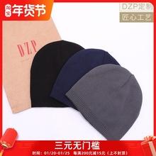 日系DmuP素色秋冬an薄式针织帽子男女 休闲运动保暖套头毛线帽