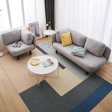 北欧布mu沙发简约时an单的双扔三的公寓(小)户型店铺装饰沙发