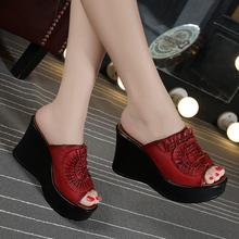 品牌夏新式mv2族风真皮br厚底高跟拖鞋鱼嘴一字凉拖女鞋红40